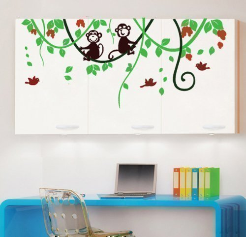 Kinderzimmer Wandaufkleber Affe Im Dschungel Baum Kunst Wandsticker
