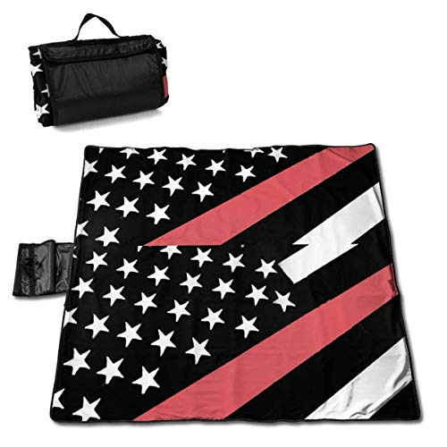 Thin Red Line Flag Firefighter Folding Portable Picnic Blanket 57