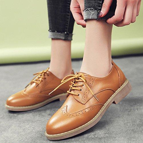 HWF Chaussures femme Chaussures de printemps des femmes britanniques style rétro plat unique chaussures occasionnelles chaussures richelieu ( Couleur : Beige , taille : 36 ) Marron