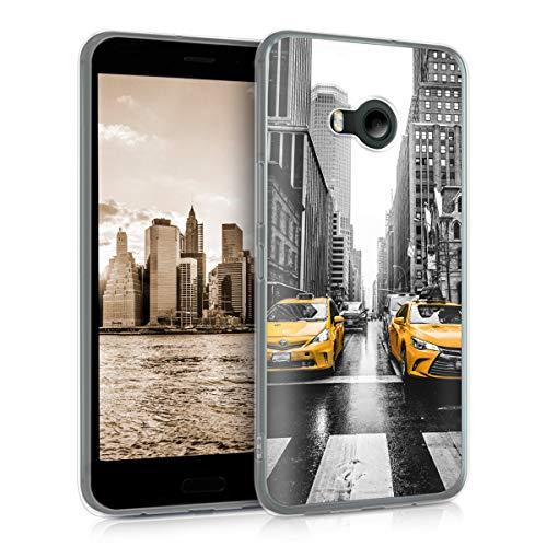 kwmobile HTC U11 Life Hülle - Handyhülle für HTC U11 Life - Handy Case in Gelb Schwarz Weiß