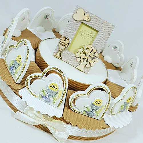 Bomboniere comunione albero della vita su torta portaconfetti confetti bianchi- torta 12 fette + 12 cuori comunione + portafoto cenrale + confetti cioccolato apr