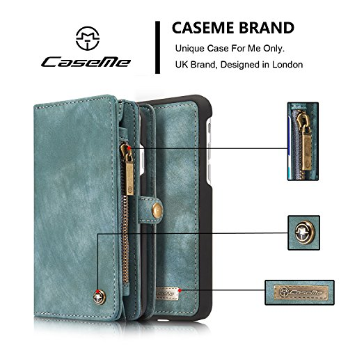 Wkae CaseMe Ultimate Functional All-In-One Handgefertigte TRIFOLD LEATHER Abnehmbare IPhone Brieftasche Elegant Finish Case Cover Für IPhone 7 ( Color : Black ) Blue