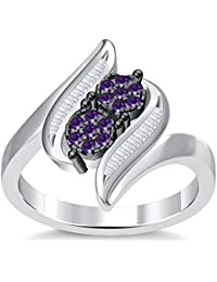 Silvernshine 3.5Ct Round Cut Sim Amethyst Diamonds 14K White Gold PL Engagement & Wedding Ring