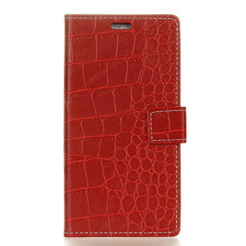 Alcatel Pixi 4 5.0 Inch 3G Hülle, CaseFirst PU Lederhülle Klapp Stoßfest Krokodil-Muster Handyhülle Wallet Case Brieftasche Hülle Schutz Handy Schale mit Ständer & Card Slots (rot)
