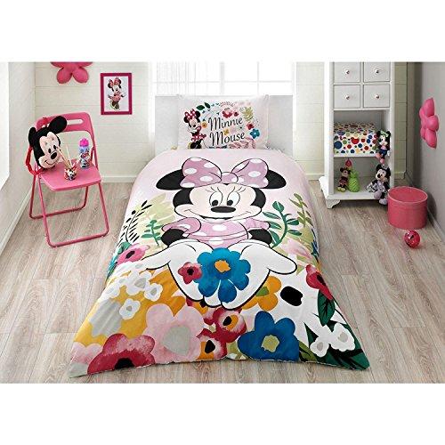 Home Disney Minnie Mouse Glitter lizenziert Bettbezug, 100% Baumwolle Ranforce Stoff Single Größe 3-teilig Bettwäsche Set