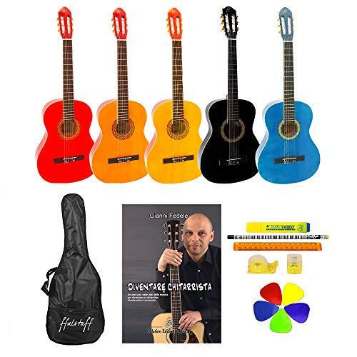 Chitarra classica 4/4 accademy ffalstaff ® con borsa, libro, 5 plettri e kit cancelleria (dim. 99 cm, color nero)