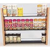 Oak Slate Design.. Spice / Herb Rack ..3 Tier, 30 Jar - Modern Contemporary Style - Deep Shelves for Larger Spice Jars, Boxes, Kilner Jars