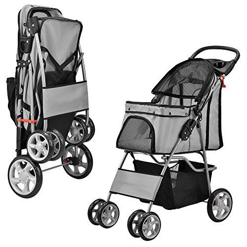 [pro.tec] Carrito para mascotas Pet Stroller Hundebuggy , impermeable, para empujar, Roadster, con cesta para guardar objetos, gris