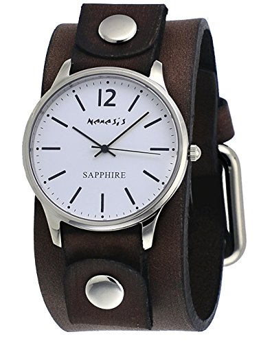 Nemesis BFBN252W Men's Signature White Dial Brown Wide Leather Band Watch