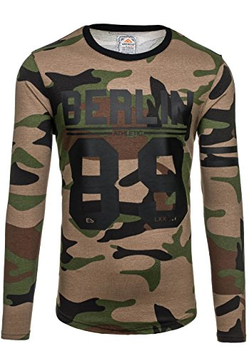 BOLF Herren Sweatshirt Langarmshirt Pullover Pulli Rundhals Classic 1A1 Motiv Khaki