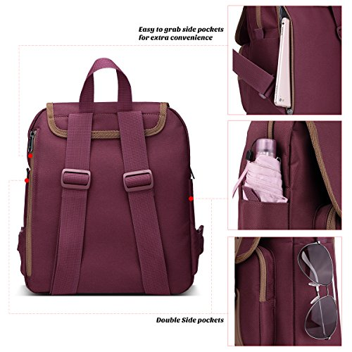 ULAK Backpack Unisex-Schultertasche Classic Casual College Rucksack Travel Daypack Für 10-Zoll-Tablet-iPad Weinrot