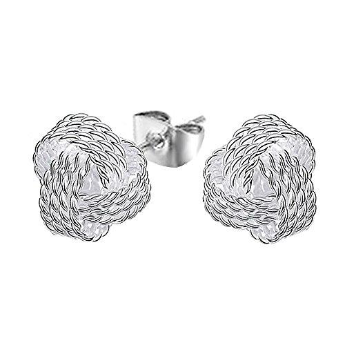 Tiffany Natur Rose (Kangqifen Schmuck Damen Ohrstecker,2 PCS 925 Silber Plattiert Ohrringe Ohrschmuck,Breite 1 cm - Länge 1 cm)