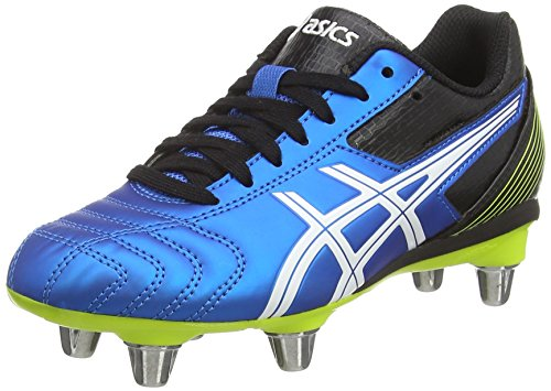 Asics - Lethal Tackle Gs, Scarpe Rugby infantile, blu (electric blue/white/flash yell 3901), 33.5