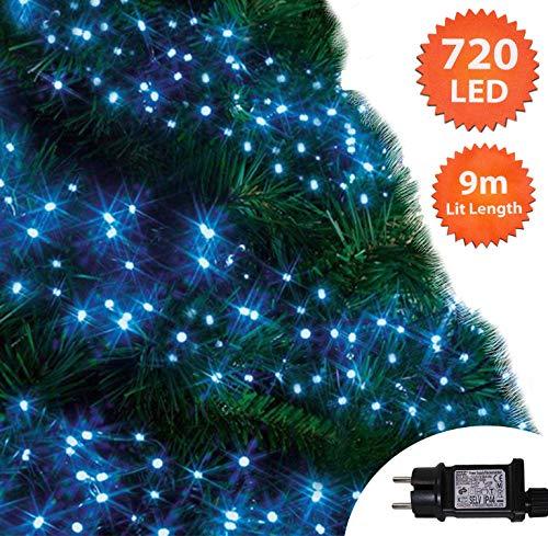 Cluster Lichter 720 LED Blau Baum Lichter Innen-und außen Weihnachts String-Leuchten 8 Modi mit Timer-Funktion, Netzbetriebene Lichterketten 9M/30ft Lit Länge grünes Kabel