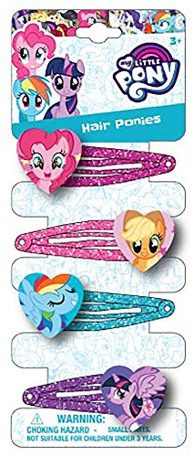 Joy Toy 95803 My Little Pony 4 Hair Clips on Backer Card, 5 x 15 cm