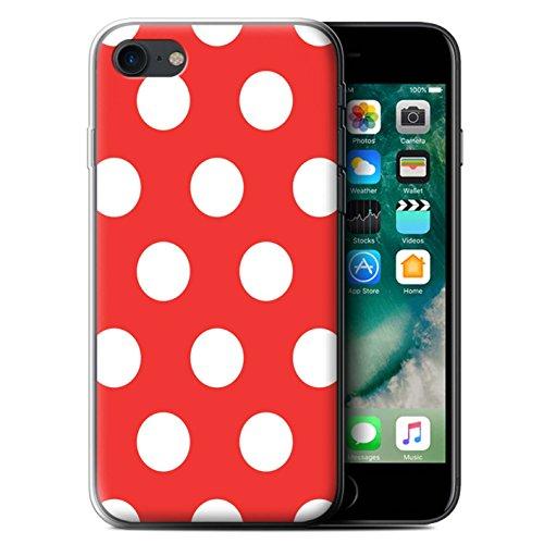 Stuff4 Gel TPU Hülle / Case für Apple iPhone 7 / Lila Muster / Tupfen Muster Kollektion Rot