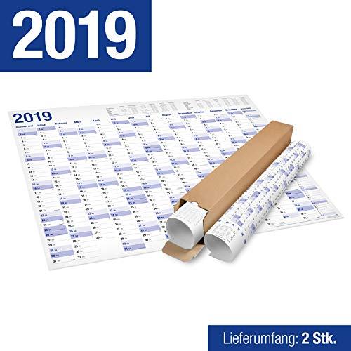 2er Pack: XXL Jahresplaner, Wandkalender 2019 in Poster Format (70x 100 cm), 15 Monate, in Rolle geliefert. Jahreskalender Wandplaner Wandkalender Kalender. (2)