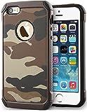 FDTCYDS iPhone 5 hülle, Camo Hülle Defender Shockproof Drop Proof High Impact Rüstung Plastic und Leder TPU Hybrid Rugged Camouflage Cover Hülle für Apple iPhone 5 / 5s se - Braun