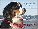 Warnschild - Schild aus Aluminium 20x30cm - Motiv: Berner Sennenhund Security ( 01 )