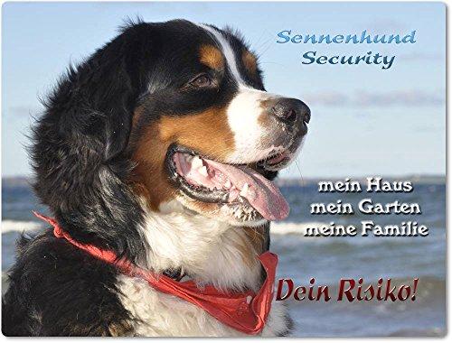 Produktbild bei Amazon - Warnschild - Schild aus Aluminium 20x30cm - Motiv: Berner Sennenhund Security ( 01 )