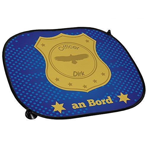 Auto-Sonnenschutz mit Namen Dirk und schönem Officer-Motiv für Jungs - Auto-Blendschutz - Sonnenblende - Sichtschutz