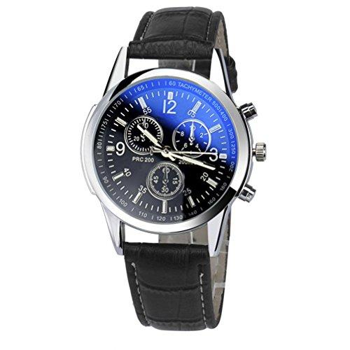 Uhren Dellin Luxus-Mode Kunstleder Herren analoge Uhr Uhren (A Schwarz)