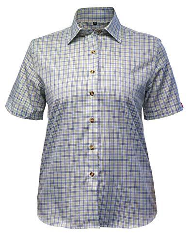 Fifty Five Wander Bluse Damen Lori blau/grün 44 Kurzarm Funktions Shirt Atmungsaktiv