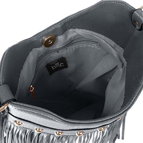 BMC Pour Femme En Faux Cuir À Gland Accent Fin Mode Sac À Main Pochette Gris Ardoise