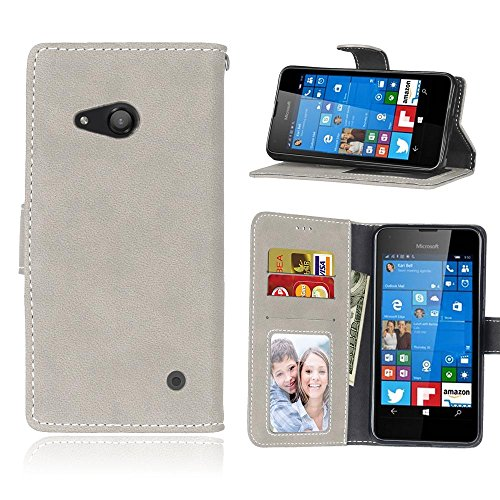Solid Color Premium PU-Leder Tasche Cover matt Retro Flip-Ständer Case Wallet Fall mit Kartensteckplätze Photo Frames für Nokia Microsoft Lumia 550 ( Color : 1 , Size : Nokia Microsoft Lumia 550 ) 6