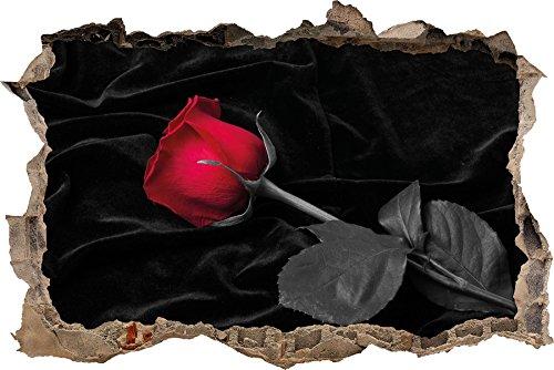 Pixxprint 3D_WD_5233_92x62 rote Rose gebettet auf schwarzem Samt Wanddurchbruch 3D Wandtattoo, Vinyl, schwarz / weiß, 92 x 62 x 0,02 cm