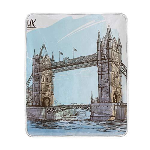 CPYang UK London Bridge Manta Suave de Microfibra Regalo sofá Cama Mantas...