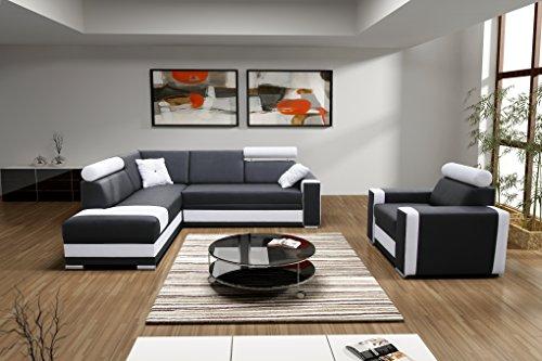 große Ecksofa Sofa Eckcouch Couch mit Schlaffunktion und Bettkasten Ottomane L-Form Schlafsofa Bettsofa Polstergarnitur Wohnlandschaft – JACKSON