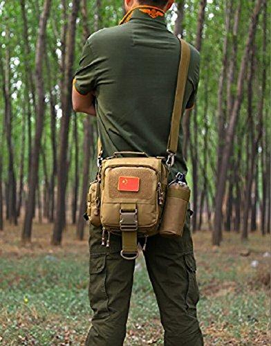 Damen Herren Outdoor Sport Tactical Nylon Trinkflasche Halter Wasserkocher Tasche 7.5cm×7.5cm×17cm Trinkflasche Tasche,Schwarz Dunkelbraun