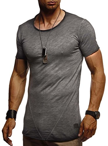 LEIF NELSON Herren T-Shirt Rundhals Ausschnit Sweatshirt Longsleeve Basic Shirt Hoodie Slim Fit LN6281; S, Anthrazit |