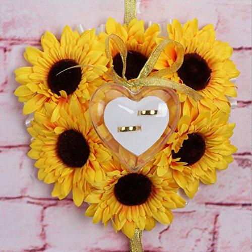 bpblgf Sonnenblume Ringkissen Stoff Blume Ring-Box Ringkissen, 01, 20 * 20cm (Western-stil Hochzeit Ringe)