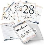 40+1 Baby Schwangerschaft Meilensteinkarten Golden Glamour Splash Milestone Cards Meilenstein Karten Geschenkset + Geschenkbox schšne Geschenkidee zur Geburt, werdende Mutter, Babyparty