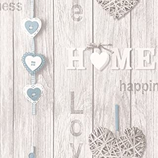 Fine Decor Love Your Home Wallpaper - Blue FD41719