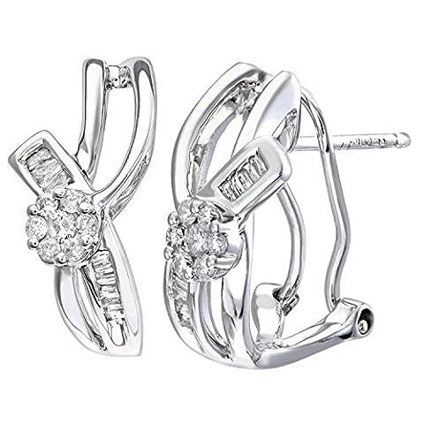 Revoni Boucles d'oreilles en or blanc 9 carats et diamants baguette 0,20 carat, motif nœud