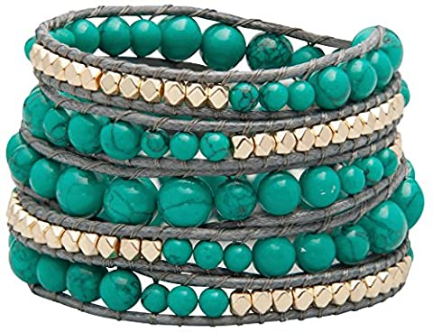 Genuine Stones 5 Wrap Bracelet - Bangle Cuff Rope With Beads - Unisex - Free Size Adjustable