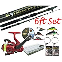 Pike Fishing Kit Telescopic 6ft 8ft Carbon Spinning Rod & Reel with Tackle Box and Tackle