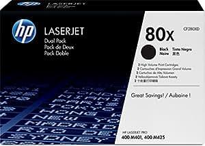 HP 80X Pack de 2 toners Noir grande capacité authentiques (CF280XD)