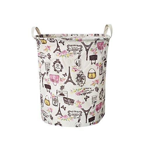Cesta de lavandería redonda, Lona impermeable sábanas ropa de lavandería cesta de...