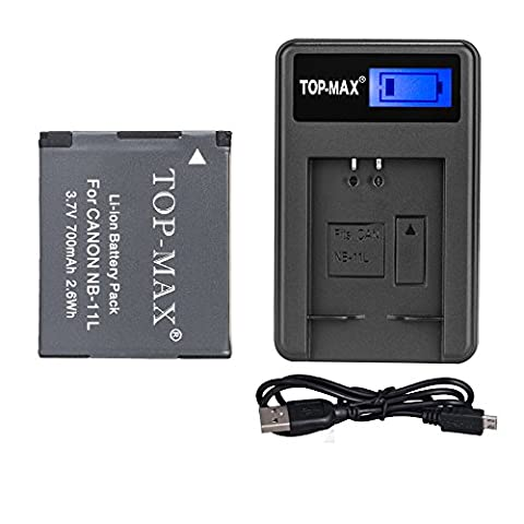 TOP-MAX® NB-11L NB-11LH Battery + Exclusive LED Screen USB Charger