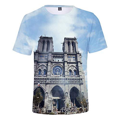 T-Shirt Neue Herrenbekleidung Mode Neue Herren 3D Notre Dame Druck Mode Herren T Casual Kurzarm Grau Large Pendulum Clock TM -