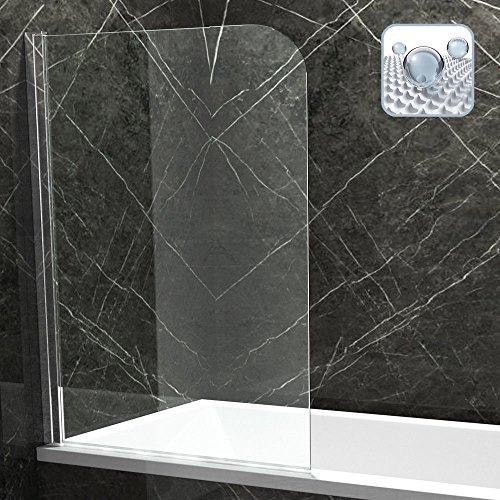 BxH: 80x140 cm Badewannenfaltwand Nassau01K aus 6mm ESG Sicherheitsglas in Klarglas | inkl. beidseitige NANO Oberflächenversiegelung | Zur seitenneutralen Montage auf dem Badewannenrand | Badewannenaufsatz