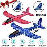 "WP 2 Pack Airplane Toy, 17.5"" Large Throwing Foam Plane, Dual Flight Mode"
