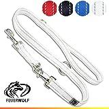 FEUERWOLF Hundeleine 3-Fach verstellbar - Doppelleine - Für mittlere und große Hunde - Robust und stabil - Beidseitig reflektierend - 2,2 Meter lang (Weiß)
