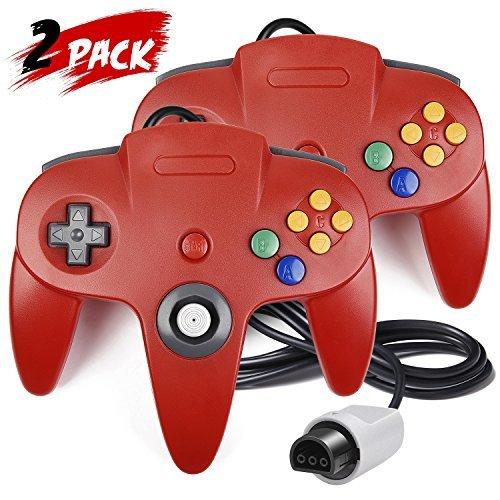 iNNEXT 2Stück N64Controller, Classic Draht N6464-Bit Gamepad Joystick für Ultra 64Video Game Konsole N64System Mario Kart (Rot)