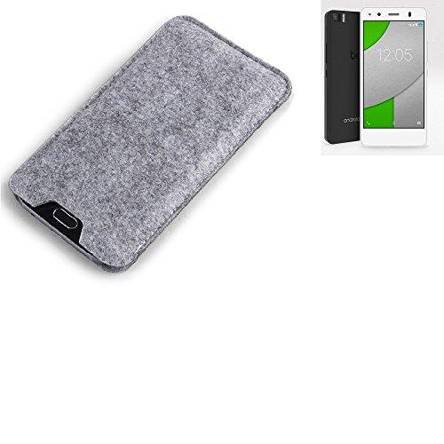 K-S-Trade Filz Schutz Hülle für BQ Readers Aquaris A4.5 Schutzhülle Filztasche Filz Tasche Case Sleeve Handyhülle Filzhülle grau