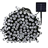 Outdoor Solar String lights, Waterproof 200 LED Fairy Lights String for Christmas, Home, Garden, Yard, Porch, Tree, Party, Holiday Decoration - Cool White, 72FT, 8-in-1 Mode